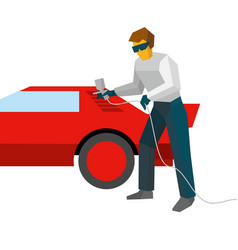 mechanic spraying paint on red car from pulveriser vector image
