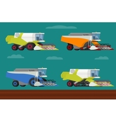 set of agricultural combine harvesters vector image vector image