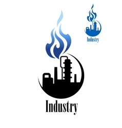 Silhouette of refinery factory with blue flame vector image vector image