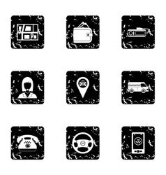 Taxi custom icons set grunge style vector image
