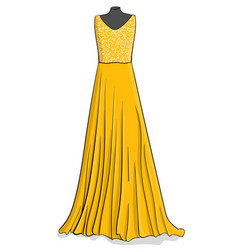 yellow long dress with white lace on the corse vector image vector image