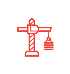 construction crane icon on white linear style vector image vector image
