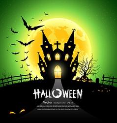 Happy Halloween green background vector image vector image