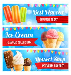 ice cream chocolate and vanilla dessert 3d banner vector image vector image