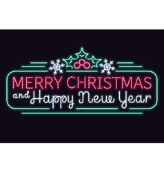 Neon lights merry christmas and happy new year vector image vector image