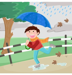 boy in the rain vector image