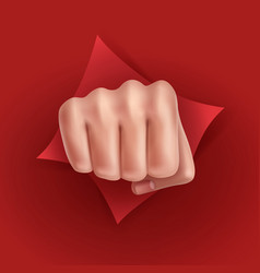 fist punching paper vector image vector image