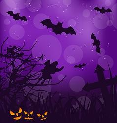 Halloween ominous background with pumpkins bats vector
