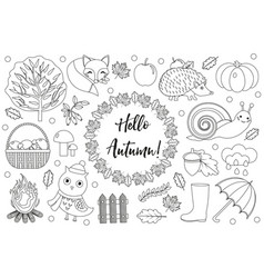 hello autumn icons set sketch hand drawing vector image vector image