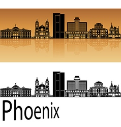 Phoenix skyline in orange vector image