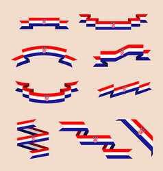 ribbons or banners in colors of croatian flag vector image vector image