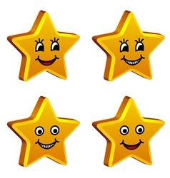 3d golden smiling stars vector