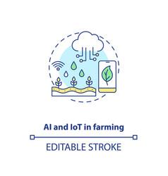 Ai and iot in farming concept icon vector