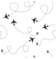 airplane dotted flight seamless pattern background vector image