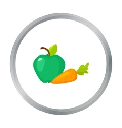Apple with carrot icon in cartoon style isolated vector image
