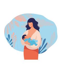 beautiful young mother breastfeeds her baa vector image