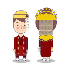 Betawi jakarta couple traditional national clothes vector