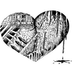 Bloody heart doodle vector image
