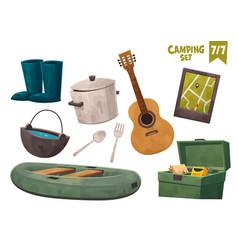 boat guitar navigator box cauldron pan rubber vector image
