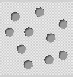 Bullet holes isolated vector