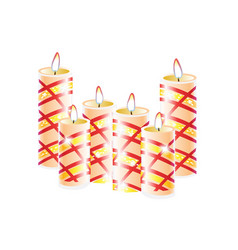 burning candles set decorative round cylindrical vector image