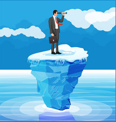 businessman with spyglass on tiny iceberg in ocean vector image