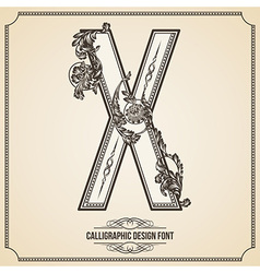 Calligraphic font Letter X vector
