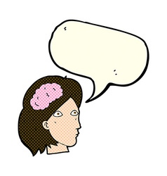cartoon female head with brain symbol with speech vector image