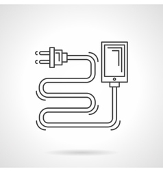 Charger cord flat line icon vector