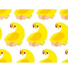 Chicken farm seamless pattern background of vector image