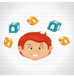 Child boy cartoon cubes alphabet letters vector