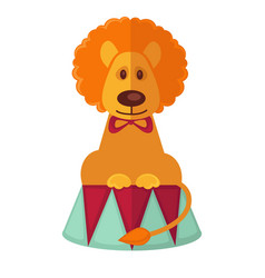 circus trained lion isolated cartoon flat vector image