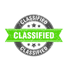 Classified round stamp with green ribbon vector