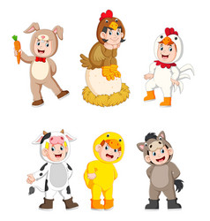 collection children wearing farm animal costumes vector image
