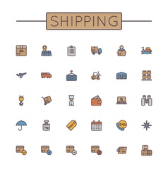 Colored Shipping Line Icons vector image