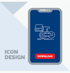 Console game gaming playstation play line icon in vector