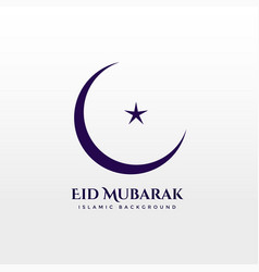 Crescent moon with star on white background eid vector