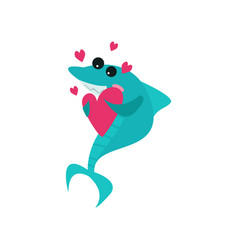 Cute cheerful shark cartoon character holding pink vector