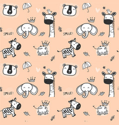 cute doodle wild animal pattern seamless vector image