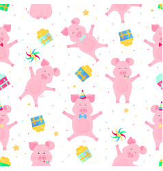 cute pigs having fun funny piglets celebrate vector image