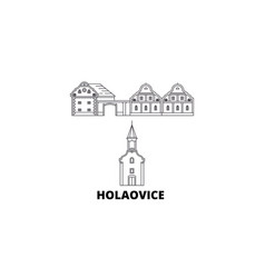 Czech republic holasovice line travel skyline set vector