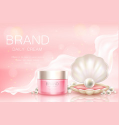 Daily cream in jar cosmetic background vector
