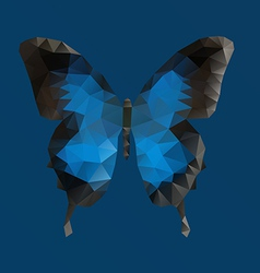 Dark blue butterfly in polygonal technique vector