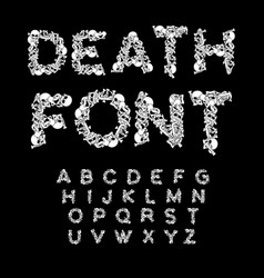 Death font bones abc skeleton alphabet letters vector