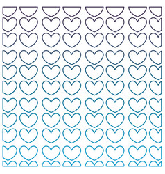 degraded outline nice hearts shapes decoration vector image