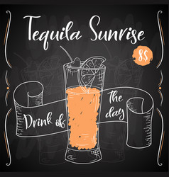 dring poster cocktail tequila sunrise for vector image