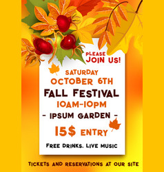 Fall festival of autumn harvest banner template vector