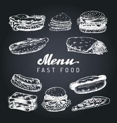 Fast food menu in burgers hot dogs vector
