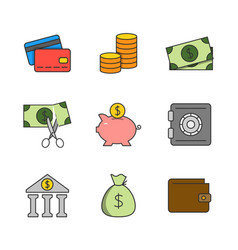 finance flat line icons vector image