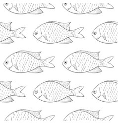 fish black outline sketch seamless background vector image